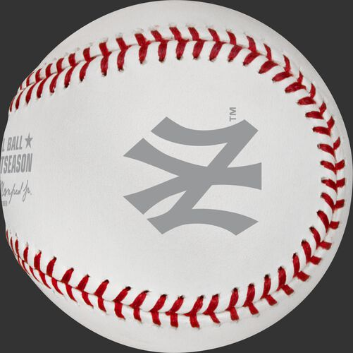 The New York Yankees logo stamped on the ALCS19DL ALCS dueling teams ball