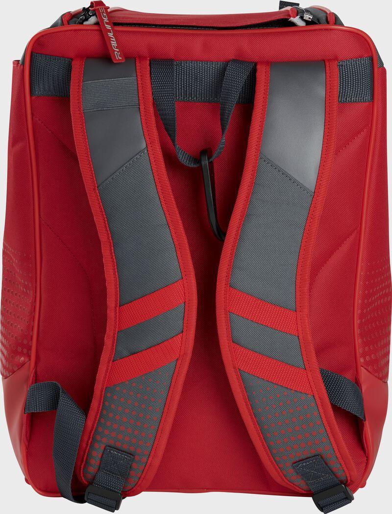 Back of a scarlet Rawlings Franchise backpack with gray shoulder straps - SKU: FRANBP-S