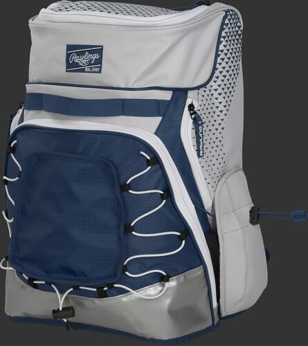 Front left of a white/navy R800 softball backpack