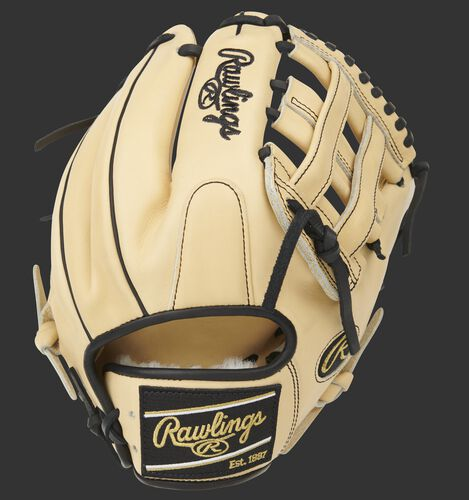 Camel back of a Pro Preferred H-web infield glove with a black Rawlings patch - SKU: PROS205-6CB