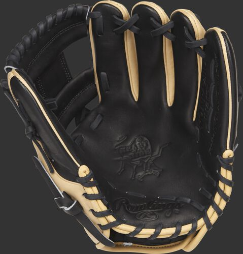 PRONP4-2BC 11.5-inch Rawlings infield glove with a black palm and black laces