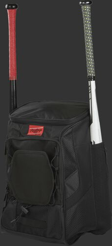 Front left of a black R600 Rawlings players equipment backpack with two bats
