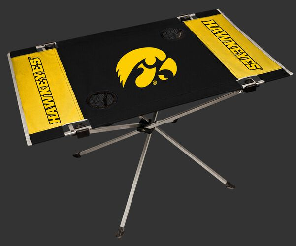 NCAA Iowa Hawkeyes Endzone table constructed in team colors with team logos and features two cup holders SKU #04053075111