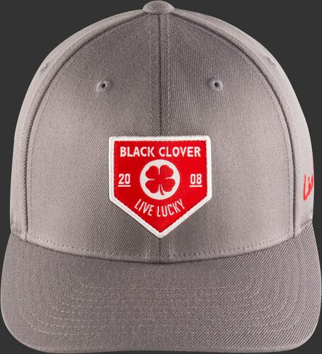 Front View Of Rawlings Black Clover Authentic Fitted Hat - Gray With Red Emblem - SKU #BC0A000071