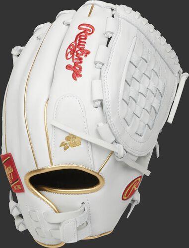 White back of a Liberty Advanced Keilani Ricketts model glove with gold binding & welting - SKU: RLA125KRG