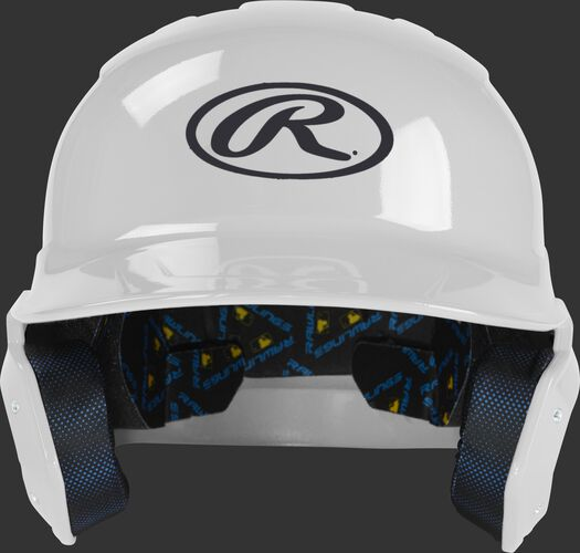 MCH01A Mach baseball batting helmet with a white shell and Oval R logo on the front
