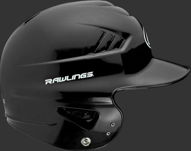 Right side of a black RCFTB Rawlings Coolflo t-ball batting helmet