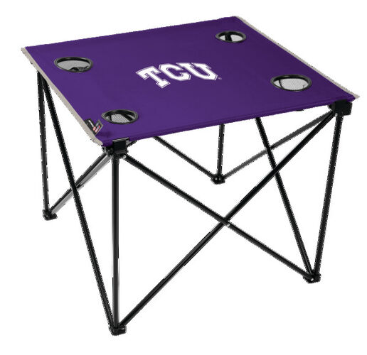 Rawlings Purple NCAA TCU Horned Frogs Deluxe Tailgate Table With Four Cup Holders and Team Logo Printed In The Middle SKU #00713177111