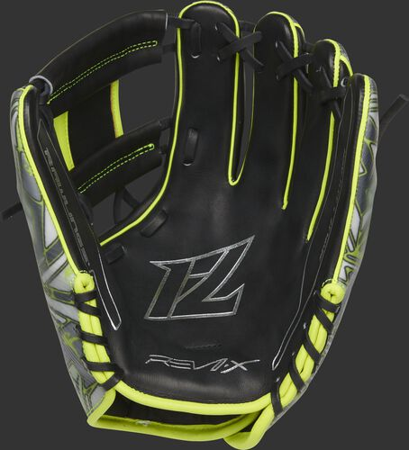 Black leather palm of a Rawlings REV1X infield glove with Francisco Lindor's logo stamped in the palm in silver- SKU: REVFL12