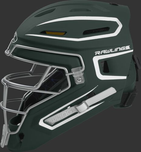 Left side of a dark green CHMACH Rawlings senior hockey style Mach catcher's helmet