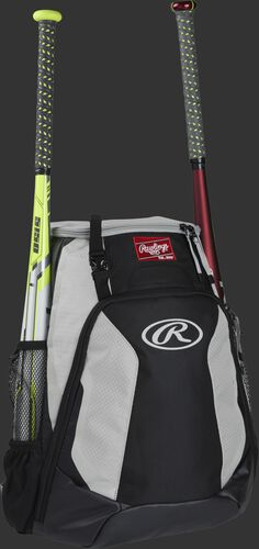 Right side of a black/white R500 Rawlings baseball backpack with a white bat in the bat sleeve