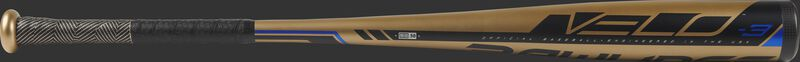 Barrel of the gold BB9V3 2019 Velo College/High School one-piece hybrid bat with black/blue accents