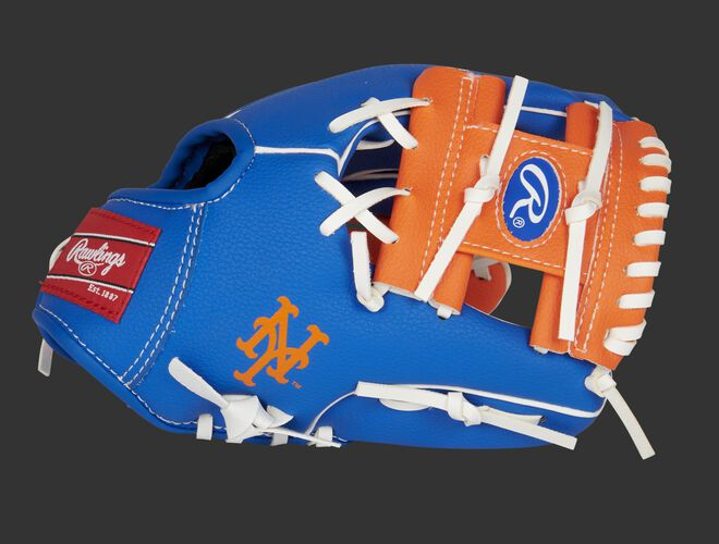 """Thumb of a blue/orange New York Mets 10-Inch team logo glove with an orange I-web and """"NY"""" logo on the thumb - SKU: 22000017111"""