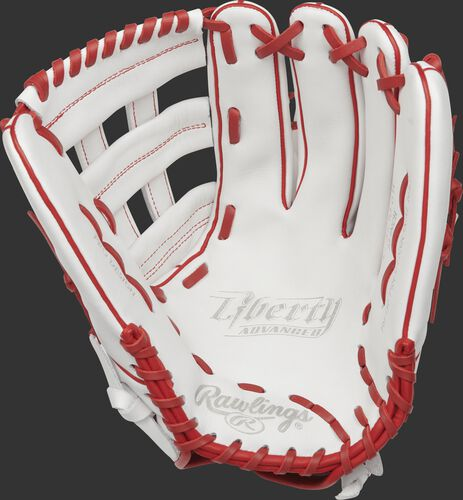 RLA130-6W Rawlings 13-inch outfield softball glove with a white palm and scarlet laces