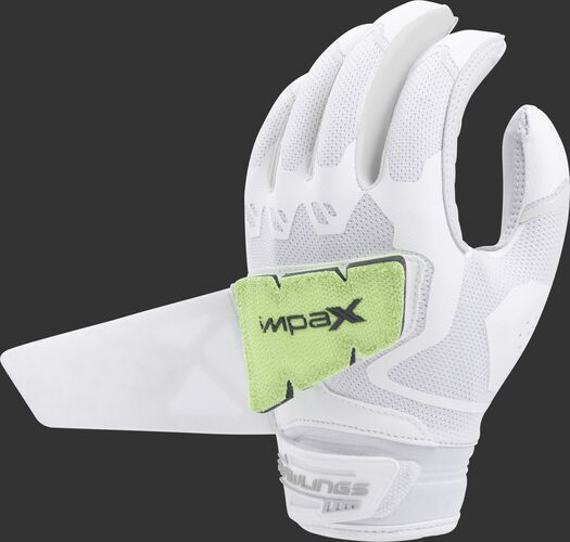 A white FPWPBG-W women's Rawlings Workhorse batting glove with the Impax pad attached to the back