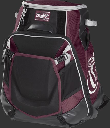 Front left of a maroon VELOBK Rawlings Velo equipment backpack with an Oval R logo on the side compartment