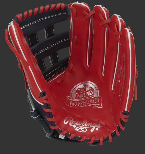 Scarlet palm of a Rawlings Pro Preferred outfield glove with silver stamping, navy web and scarlet laces - SKU: PROS3319-6SN