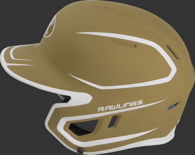 MACH Junior Rawlings batting helmet with a two-tone matte vegas gold/white shell