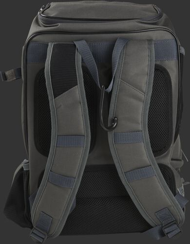 Back shoulder straps of a gray R701 baseball gear backpack