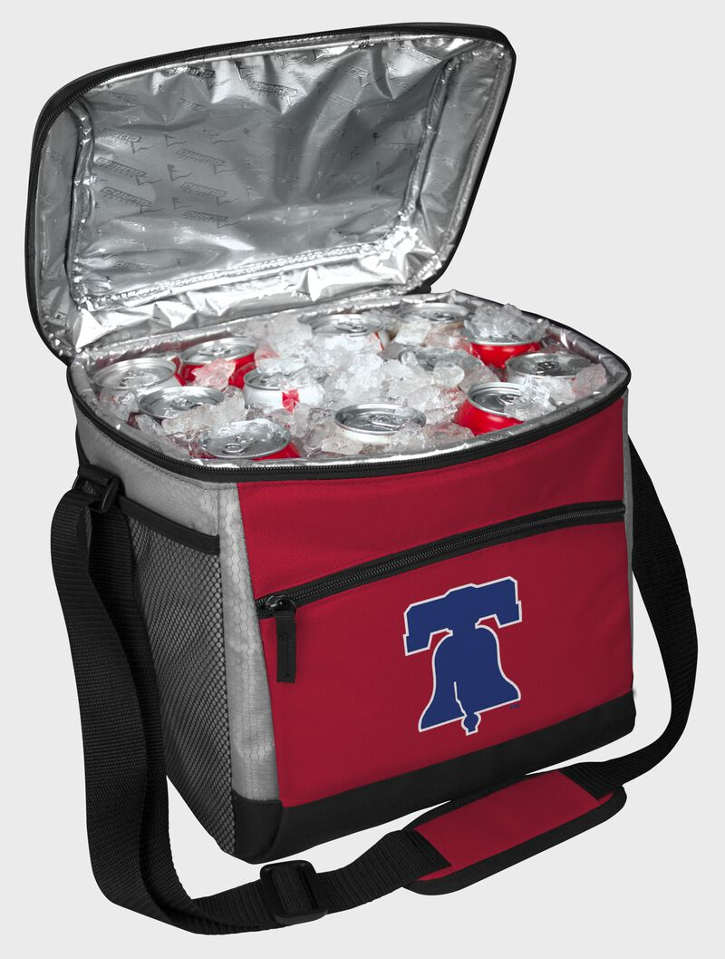 An open Philadelphia Phillies 24 can cooler filled with ice and drinks - SKU: 10200020111