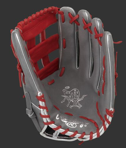 Gray palm of a Heart of the Hide Hyper Shell 12.75-Inch glove with a scarlet web and scarlet laces - SKU: PRO3039-6GCFS