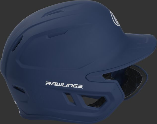 Right side of a MACHEXTR adult Rawlings batting helmet with a one-tone matte navy shell