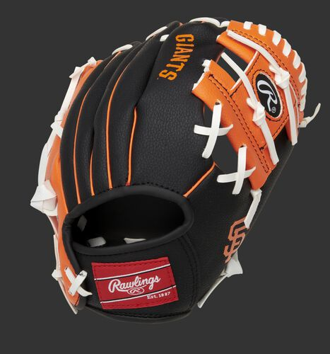 Back of a black/orange San Francisco Giants 10-Inch I-web glove with a red Rawlings patch - SKU: 22000013111