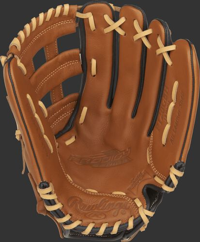P120GBH Rawlings 12-inch Prodigy youth baseball glove with a golden brown palm, camel laces and a Sure Catch design