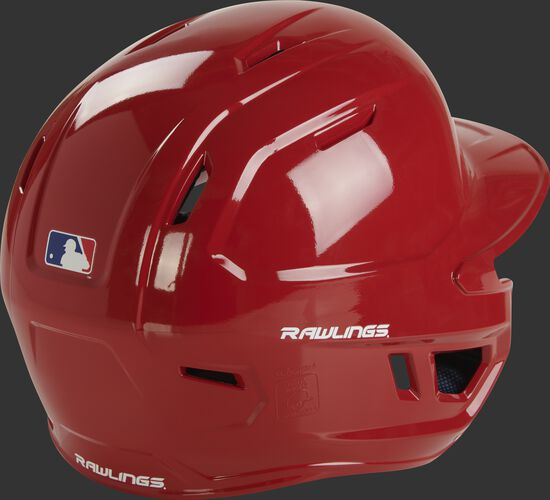 Back right of a scarlet MCC01 Rawlings ventilated batting helmet