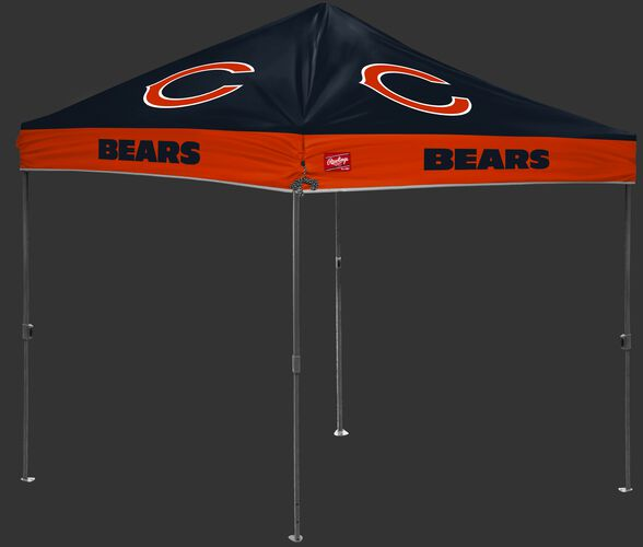 A navy/orange NFL Chicago Bears 10x10 canopy with team logos on each side - SKU: 02231062111