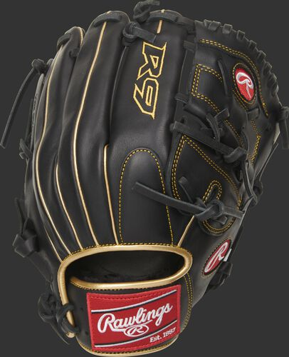 Black back of a R9 series 2-pieces solid web glove with a red Rawlings patch - SKU: R9206-9BG