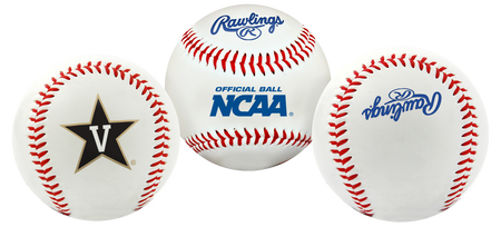 3 views of a NCAA Vanderbilt Commodores baseball with a team logo, NCAA logo and Rawlings logo