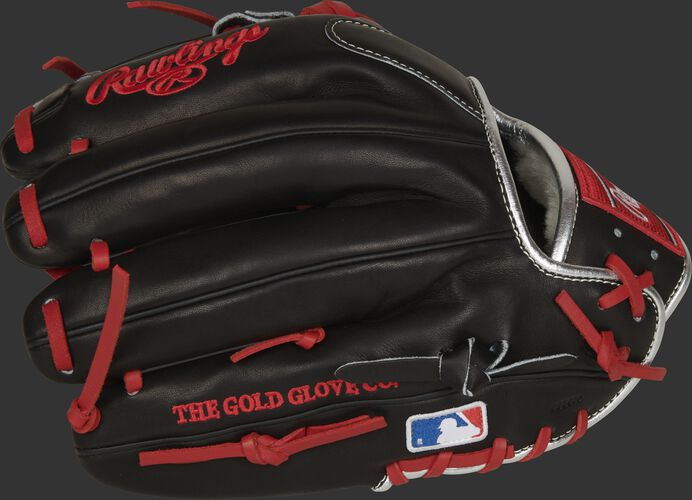 Black fingers of a Rawlings Francisco Lindor model glove with the MLB logo on the pinkie - SKU: PROSFL12B