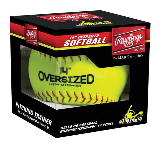 "An oversized 14"" pitcher's training softball in a box - SKU: 14SOFTBALL"