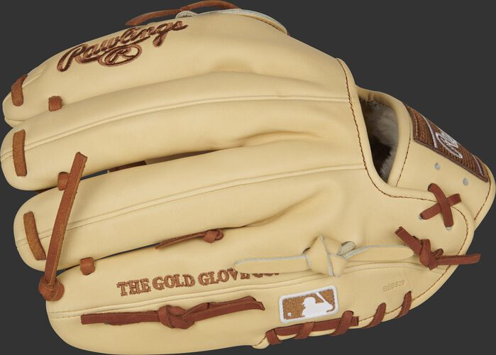Camel fingers of a 2021 Pro Preferred 11.75-Inch glove with the MLB logo on the pinkie - SKU: PROS205-30C