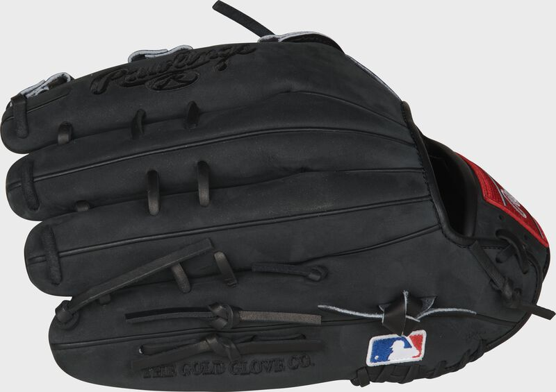Black suede fingers of a Cody Bellinger outfield glove with the MLB logo on the pinky - SKU: PRO442-CB35