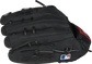 Black suede fingers of a Cody Bellinger outfield glove with the MLB logo on the pinky - SKU: PRO442-CB35 image number null