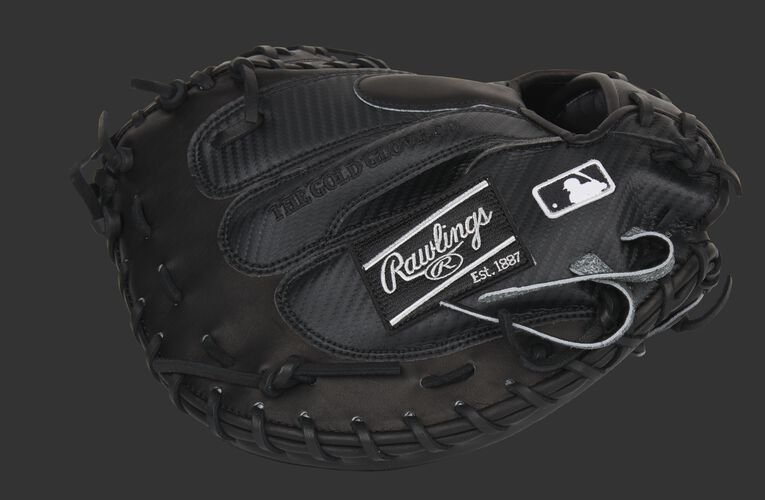 Black Hyper Shell back of a Pro Preferred catcher's mitt with a black Rawlings patch and MLB logo - SKU: PROSCM41B