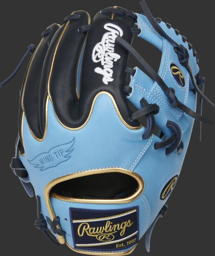 Navy/Columbia Blue Wing Tip back of a Heart of the Hide R2G I-web glove with a navy Rawlings patch - SKU: PROR204W-2CBN
