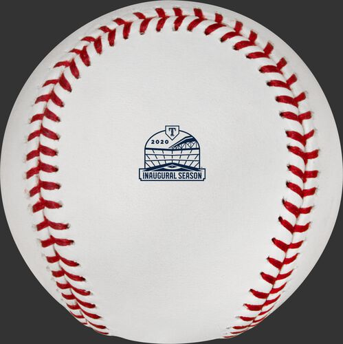 The Texas Rangers inaugural season at Glove Life Field logo stamped on a MLB baseball - SKU: ROMLBTRIN20
