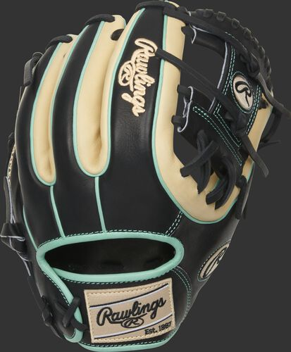 Black/camel back of a HOH R2G I-web glove with mint double welting and binding and camel Rawlings patch - SKU: PROR314-2CBM