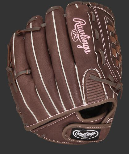 Brown back of an 11.5-inch Basket web softball glove with a Velcro strap back - SKU: MODFP115