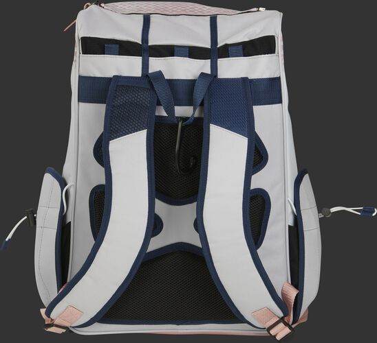 Back of a white/navy/rose gold R800 Rawlings fastpitch backpack with black back padding and white shoulder straps