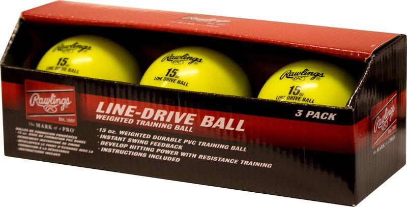 A three pack of yellow LDBALL line-drive training balls SKU #LDBALL3PK