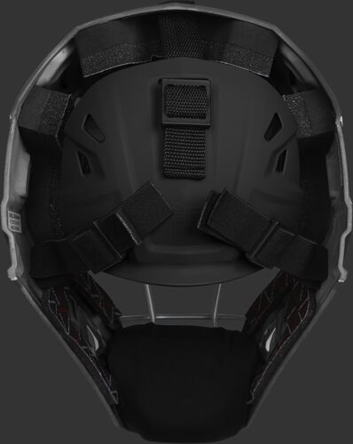 Adjustable back plate of a black CHV27J Velo 2.0 hockey style catcher's mask