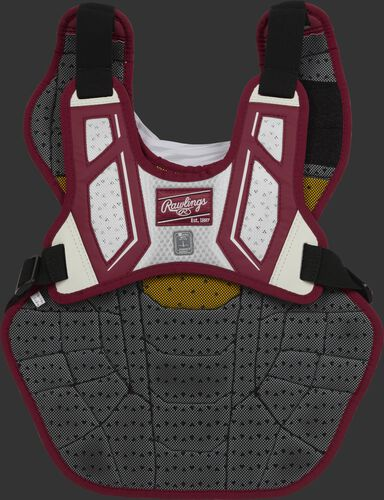 Back harness of a cardinal/white CPV2N adult Velo 2.0 chest protector with Dynamic Fit System 2.0