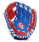 A blue/red Rawlings Texas Rangers youth glove with a Rangers logo stamped in the palm - SKU: 22000022111 image number null
