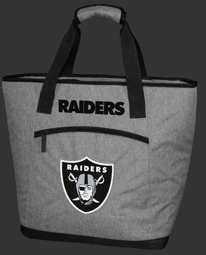 A gray Las Vegas Raiders 30 can tote cooler with an embroidered team logo on the front - SKU: 10311072111
