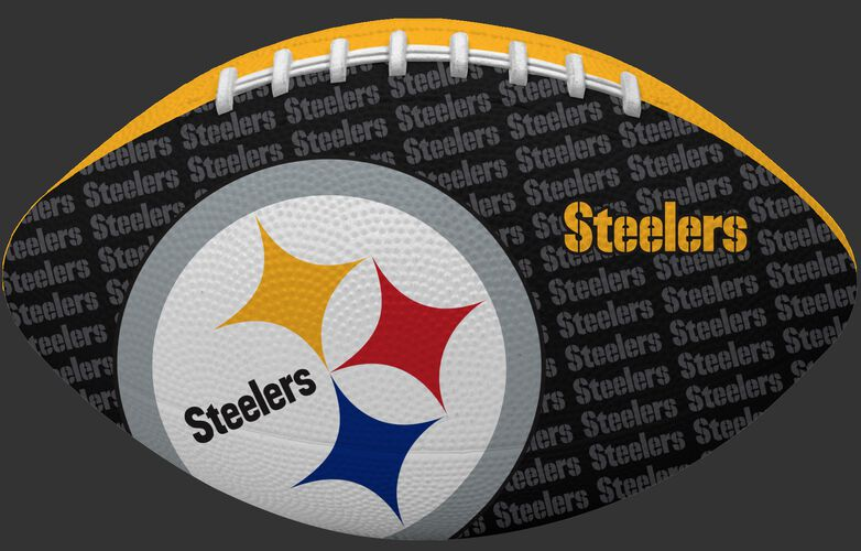 Black side of a NFL Pittsburgh Steelers Gridiron football with the team logo SKU #09501082122
