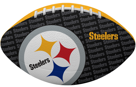 Black side of a NFL Pittsburgh Steelers Gridiron football with the team logo